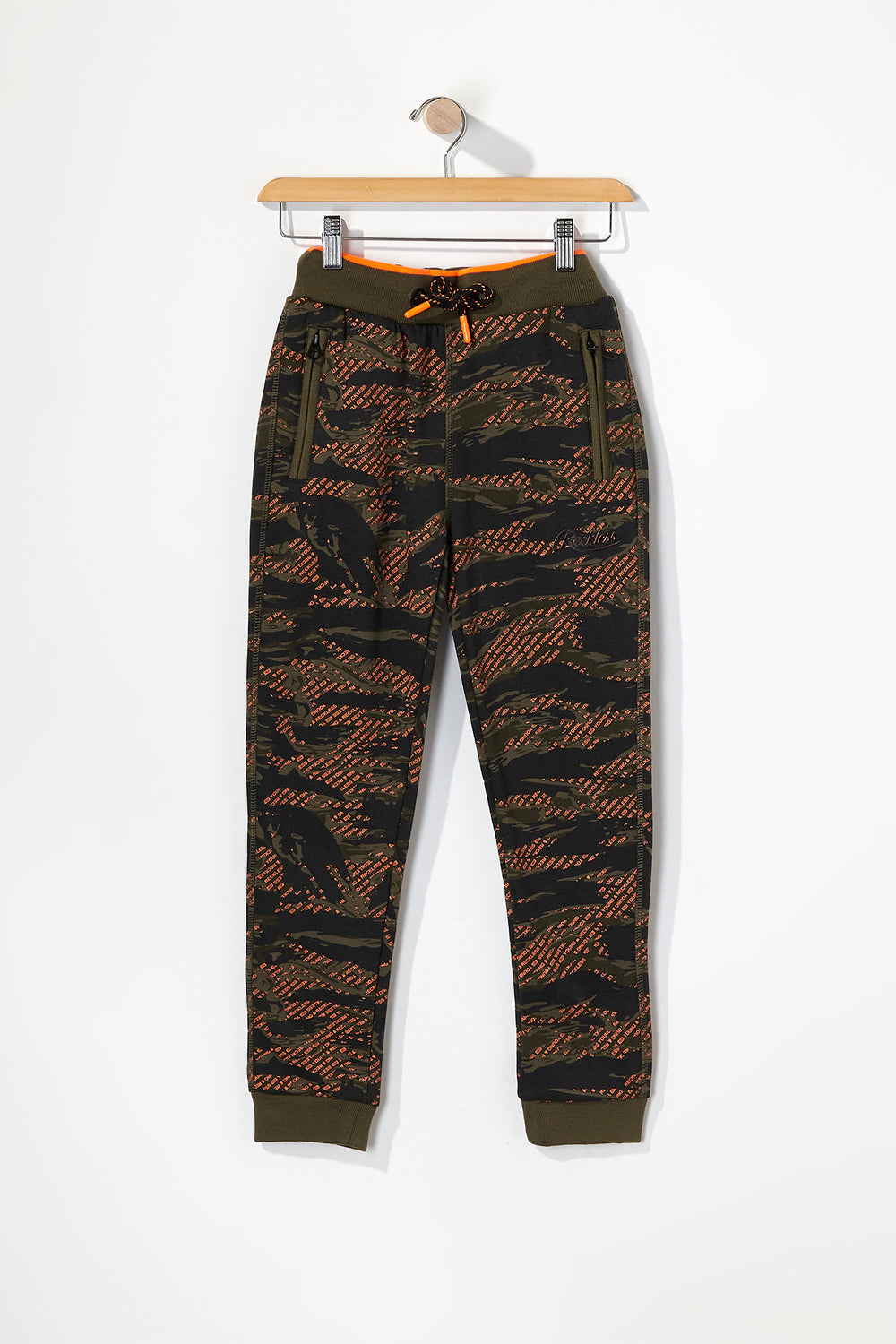 Young & Reckless Boys Tiger Camo And Neon Joggers Black with White