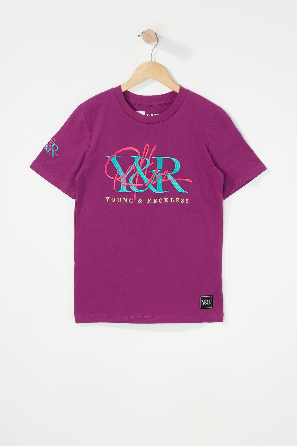 Young & Reckless Boys Embroidered Logo T-Shirt Eggplant