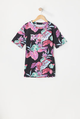 Young & Reckless Youth Neon Floral Print T-Shirt