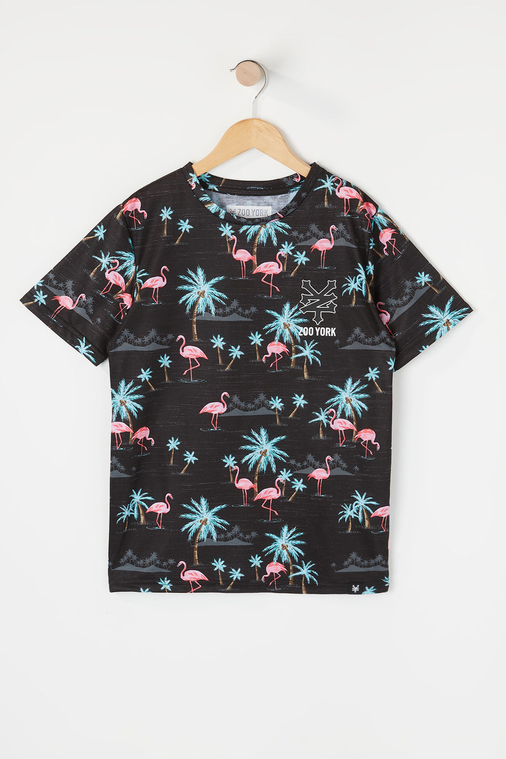 T-Shirt Motif Flamants Roses Zoo York Garçon Noir