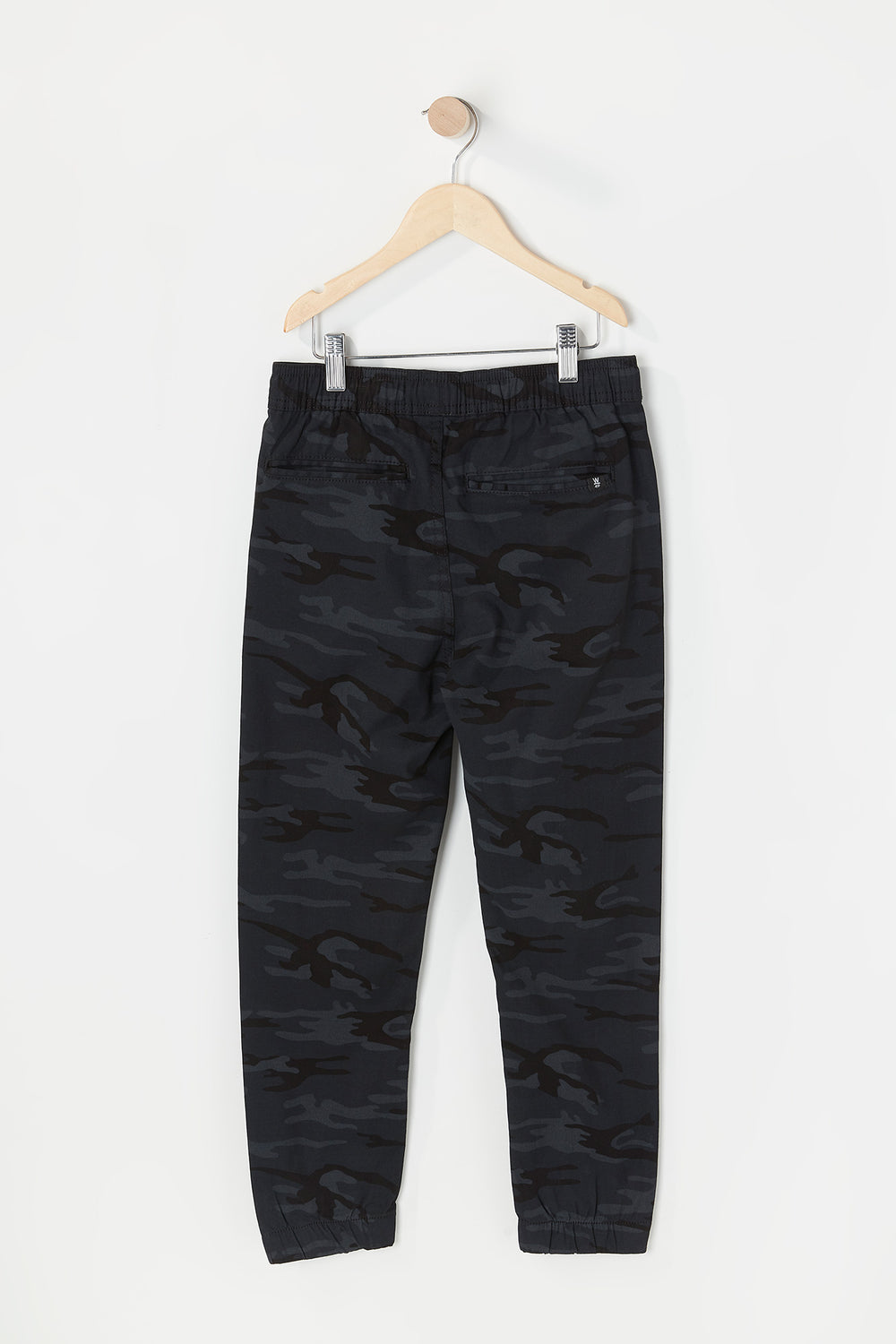 West49 Youth Twill Camo Jogger Black with White