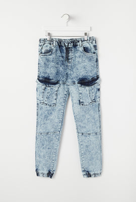 Youth Acid Wash Denim Jogger