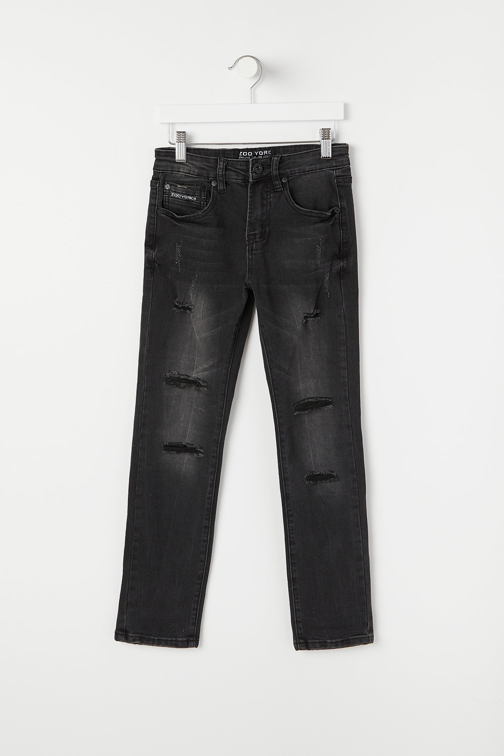 Zoo York Youth Distressed Skinny Jeans Solid Black