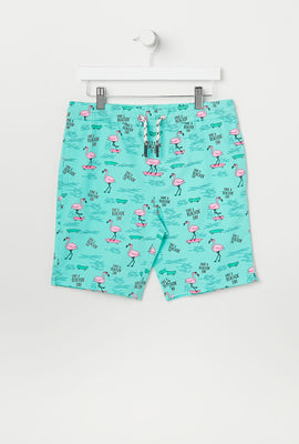 Amnesia Youth Animal Print Beach Shorts
