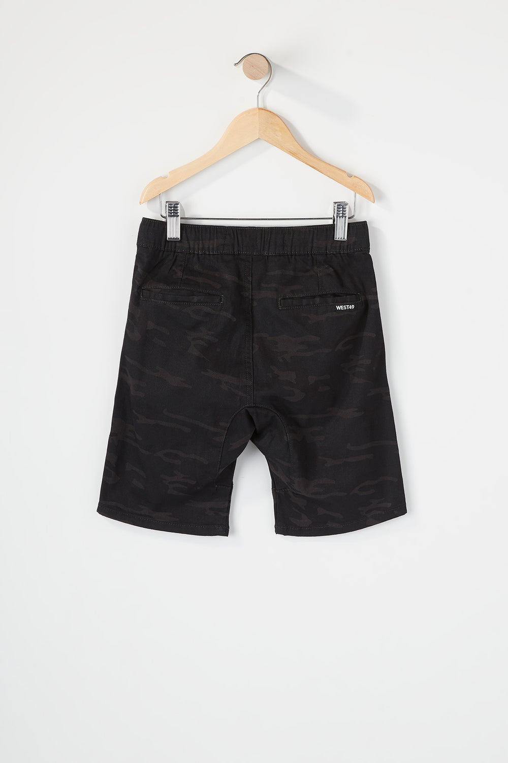 West49 Boys Camo Jogger Short Black with White