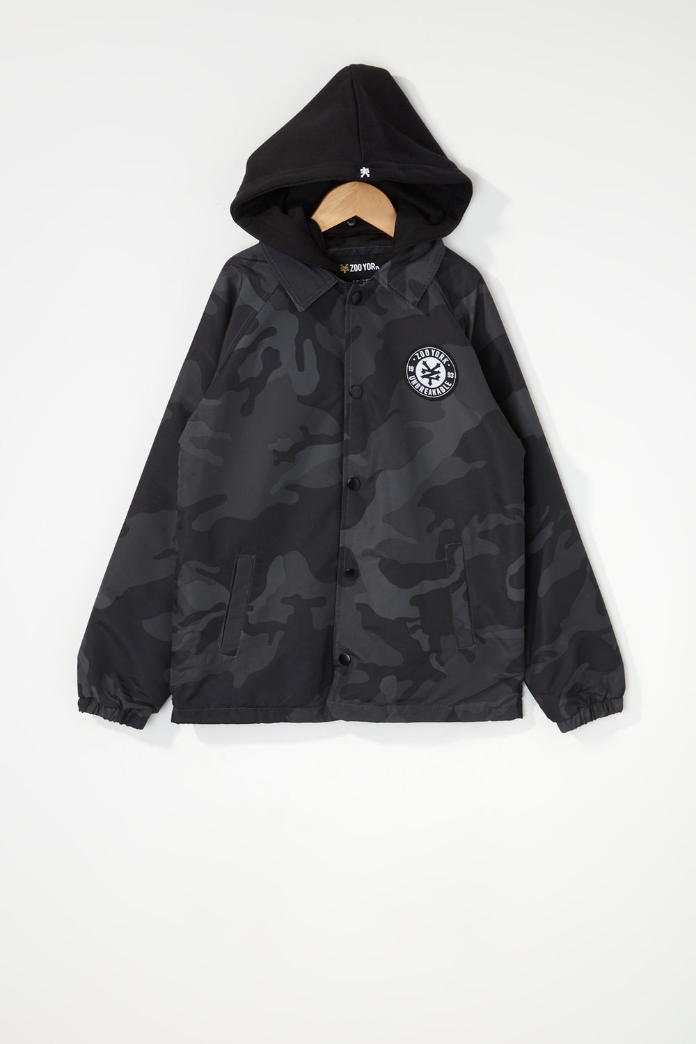 Zoo York Boys Patch Logo Coach Jacket Black with White