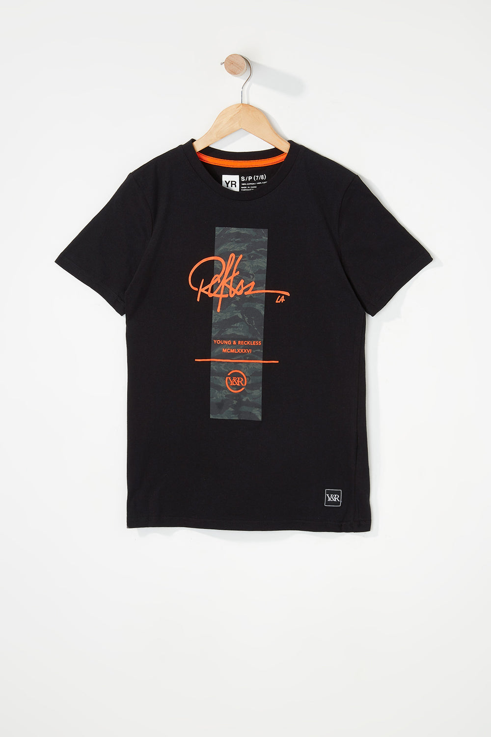 Young & Reckless Boys Camo & Neon Logo T-Shirt Black