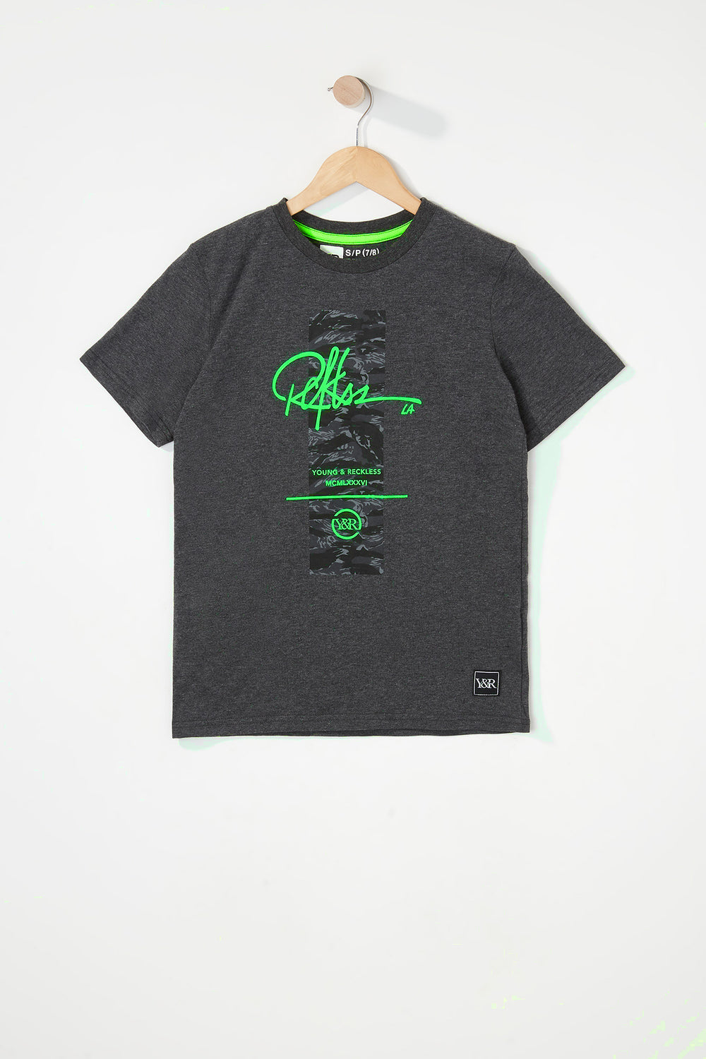 Young & Reckless Boys Camo & Neon Logo T-Shirt Charcoal