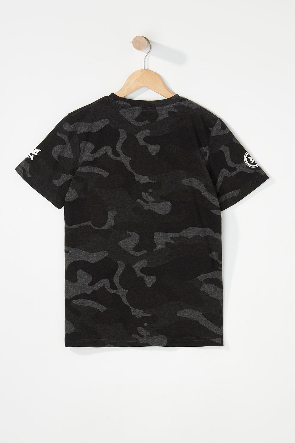 Zoo York Boys Camo Logo T-Shirt Black with White
