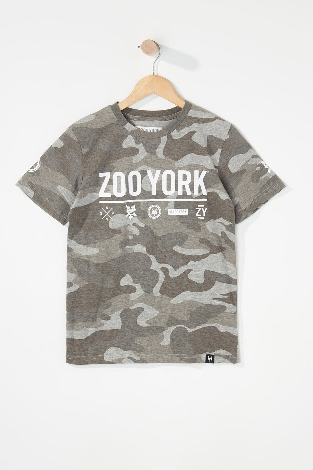 Zoo York Boys Camo Logo T-Shirt Gingham