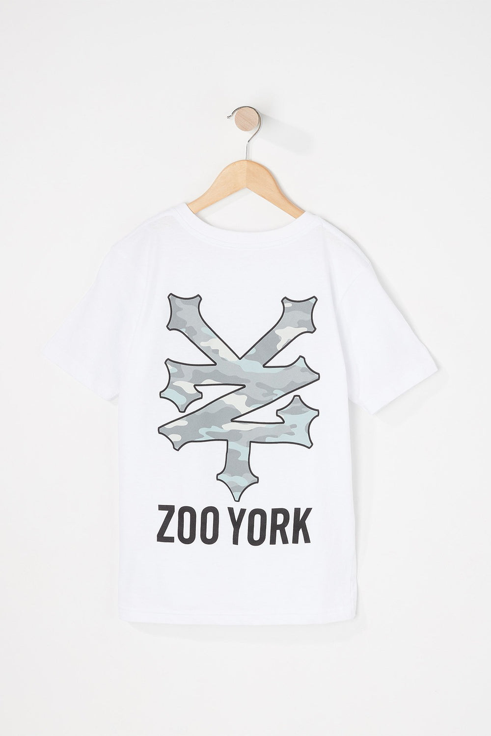 Zoo York Boys Camo Filled Logo T-Shirt White