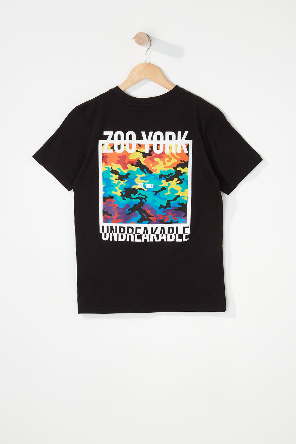 Zoo York Boys Rainbow Camo Logo T-Shirt Black