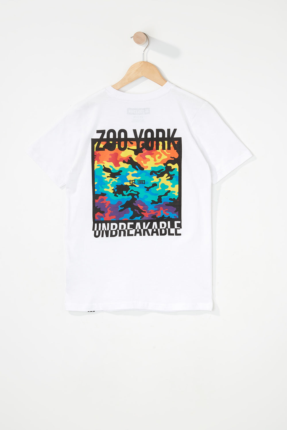 Zoo York Boys Rainbow Camo Logo T-Shirt White