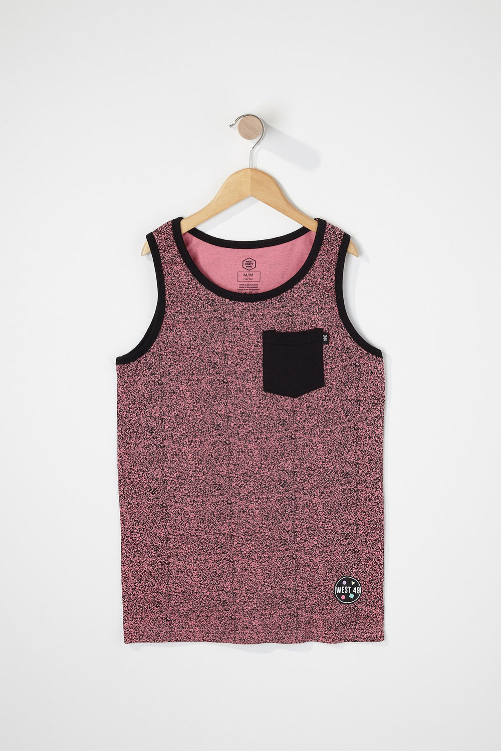 West49 Boys Cotton Speckle Pocket Tank Top Pink