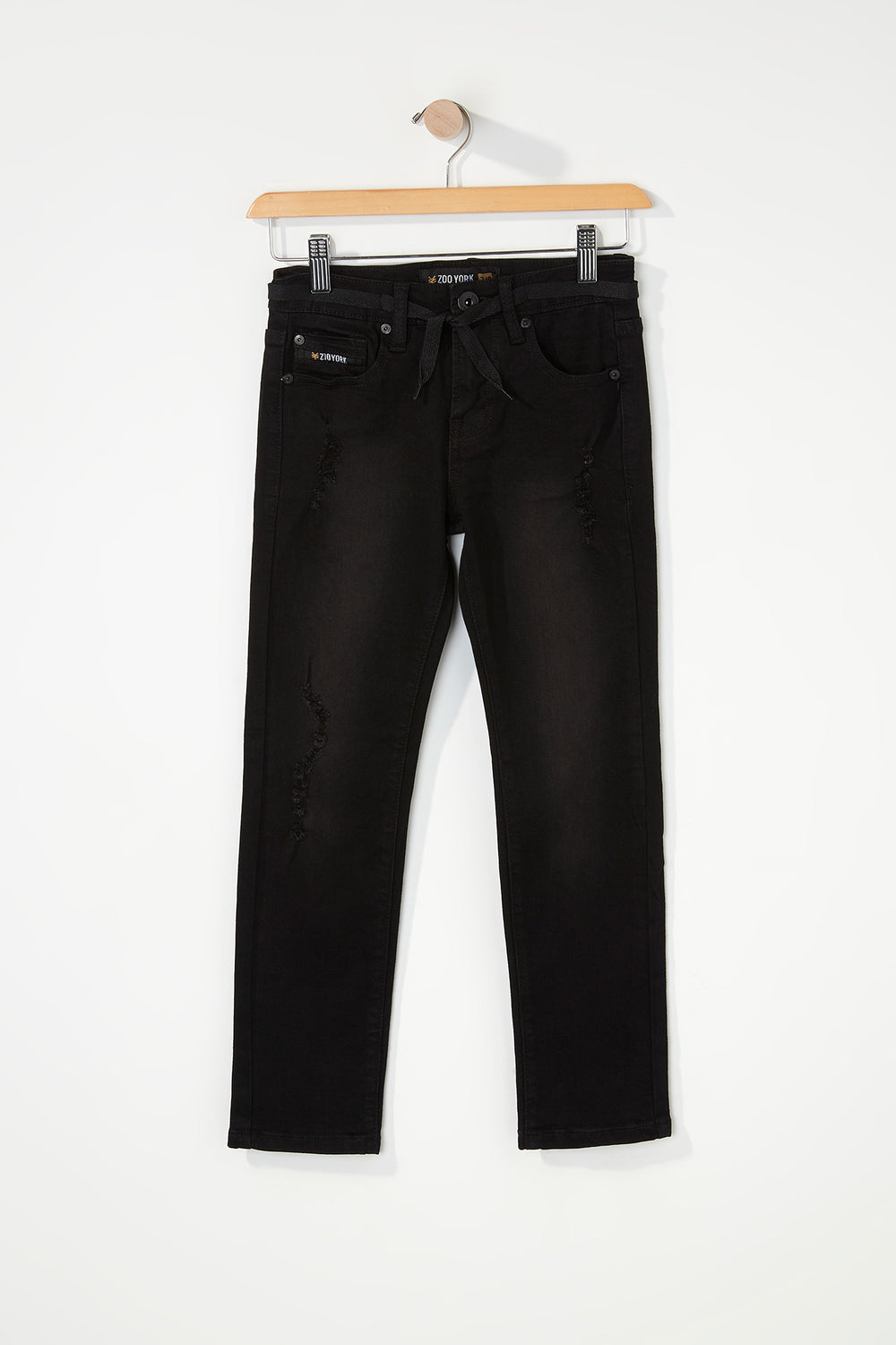 Zoo York Boys Distressed Black Stretch Skinny Jeans Solid Black