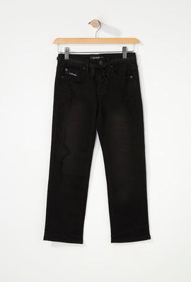 Zoo York Boys Distressed Black Stretch Slim Jeans
