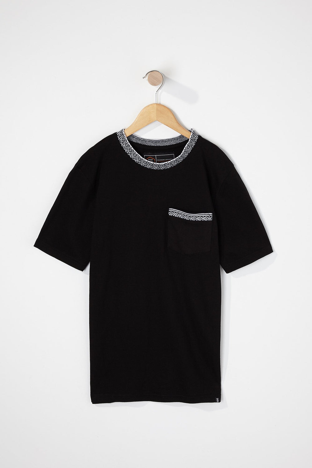 West49 Boys Contrast Pocket And Collar T-Shirt Black