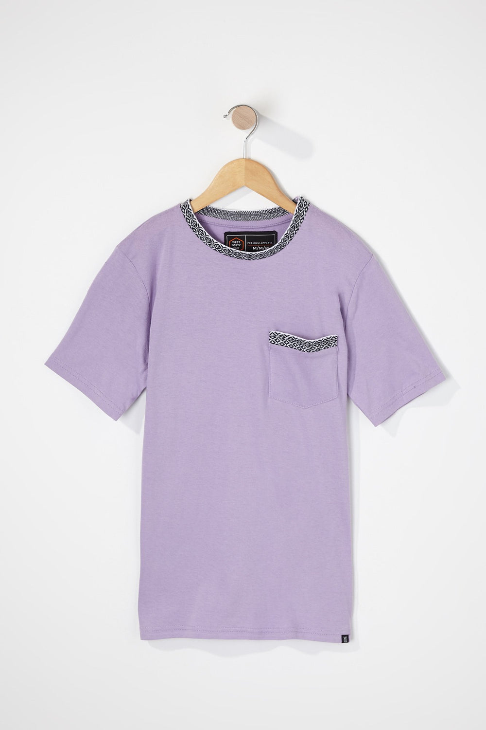 West49 Boys Contrast Pocket And Collar T-Shirt Lilac