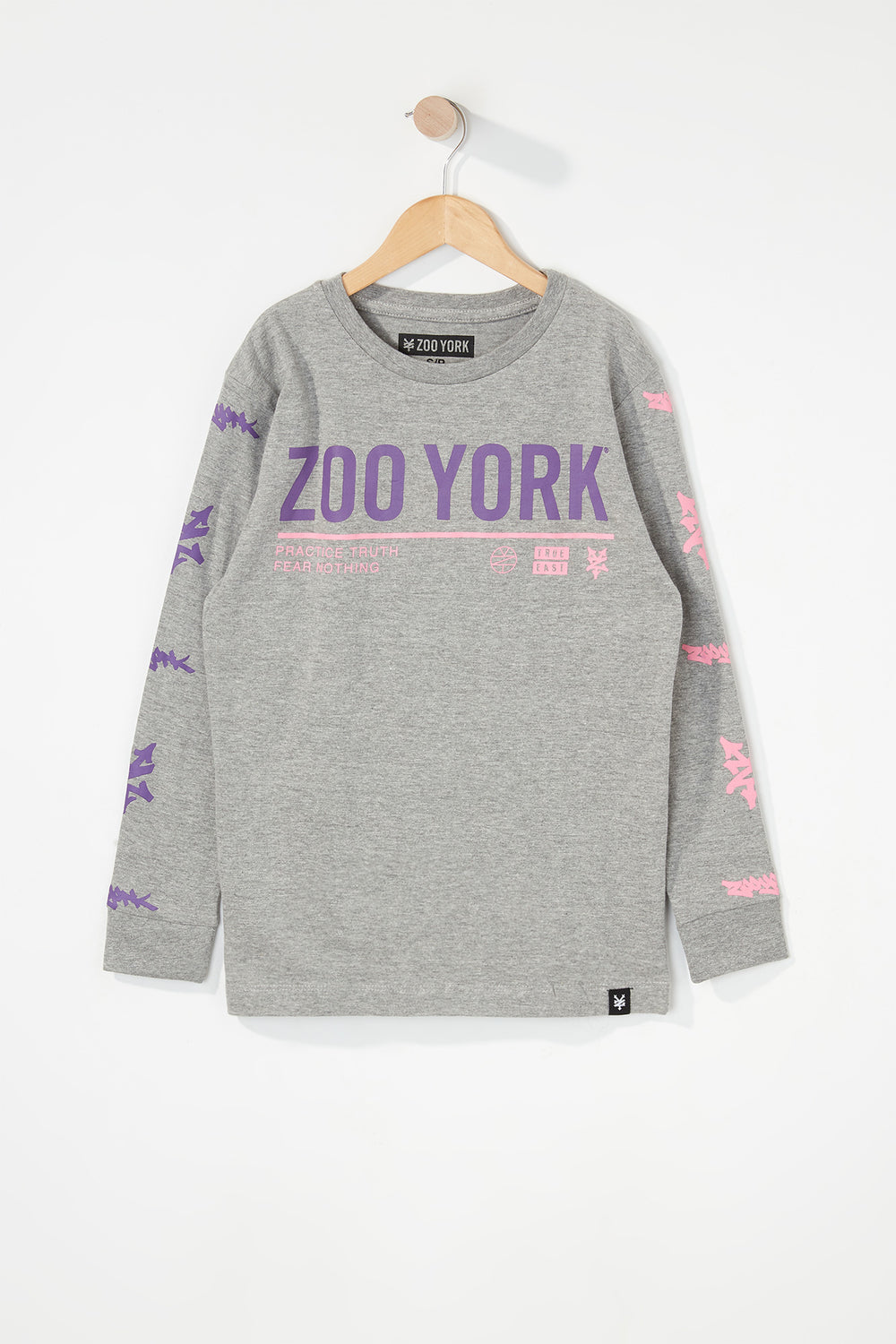 Zoo York Boys Practice Truth Long Sleeve Shirt Heather Grey