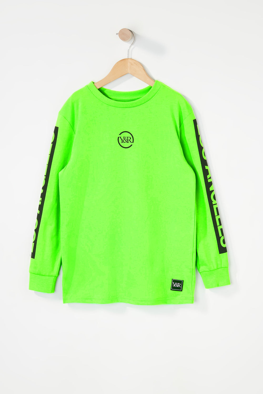 Young & Reckless Boys Neon Logo Long Sleeve Shirt Neon Green