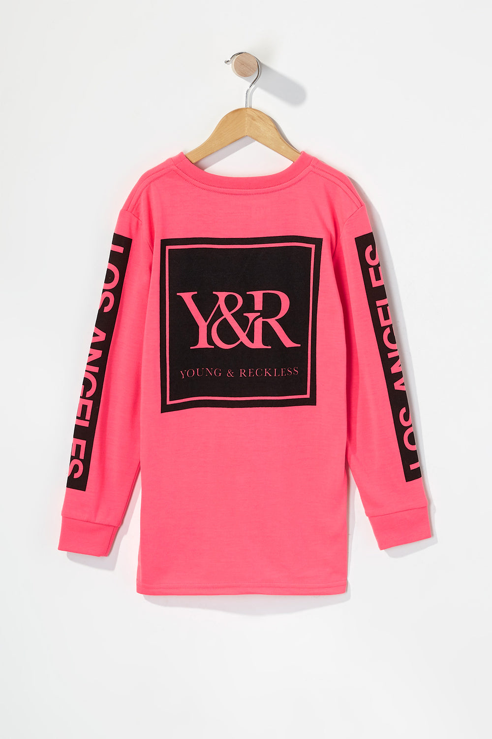 Young & Reckless Boys Neon Logo Long Sleeve Shirt Magenta