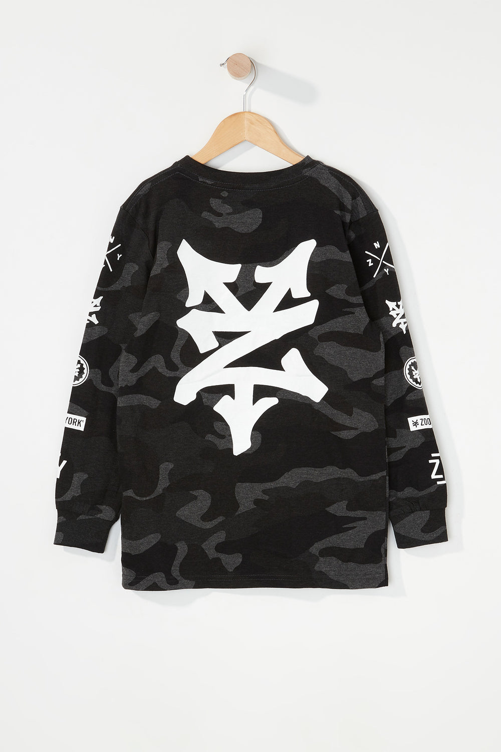 Zoo York Boys Camo Long Sleeve Shirt Black with White