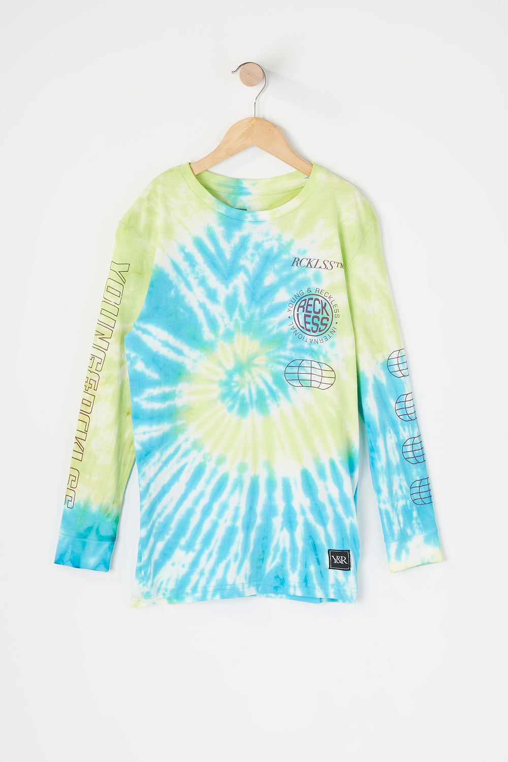 Young & Reckless Boys Tie-Dye Long Sleeve Neon Green