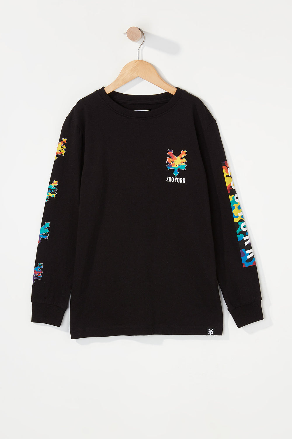 Zoo York Boys Rainbow Camo Logo Long Sleeve Shirt Black