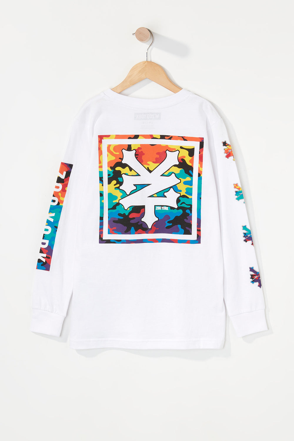 Zoo York Boys Rainbow Camo Logo Long Sleeve Shirt White