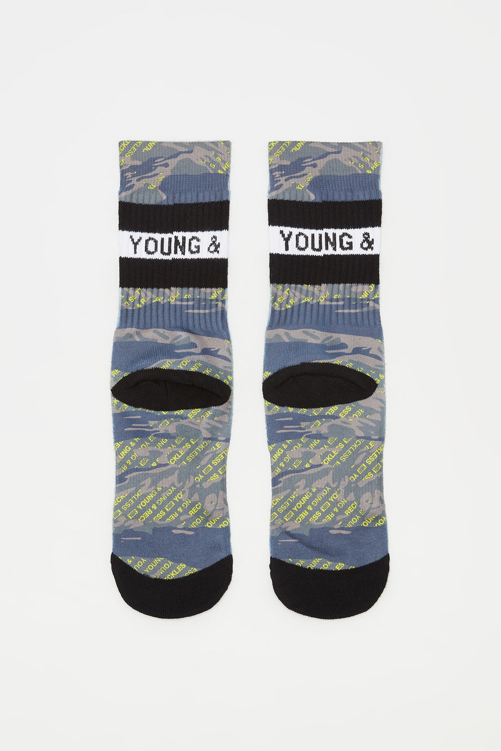 Young & Reckless Boys Camo & Neon Crew Socks Yellow