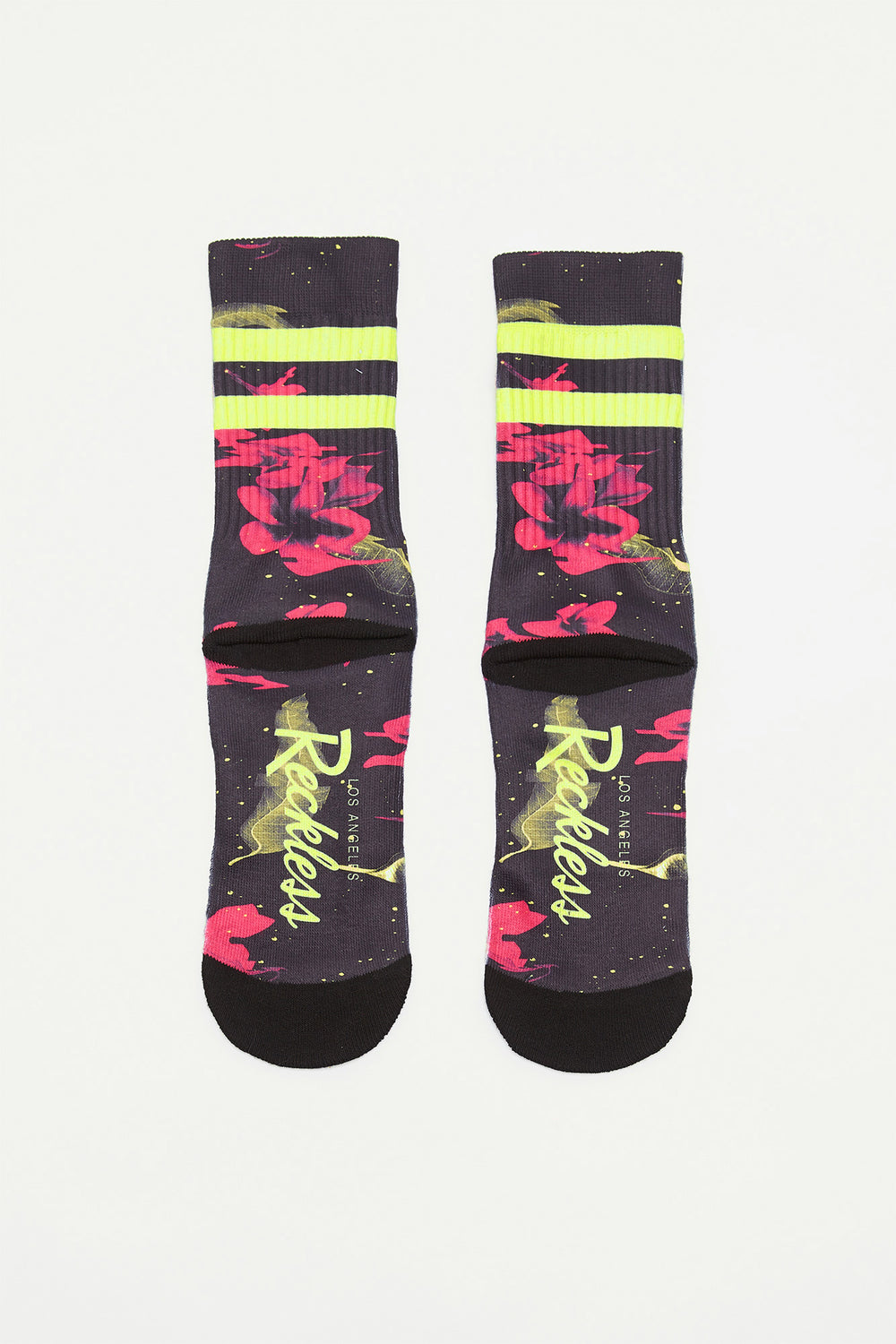 Young & Reckless Boys Electric Floral Crew Socks Black