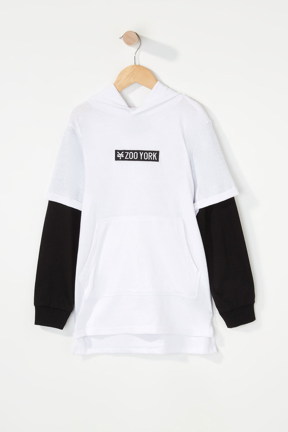 Zoo York Boys Patch Logo Hooded Long Sleeve Shirt White