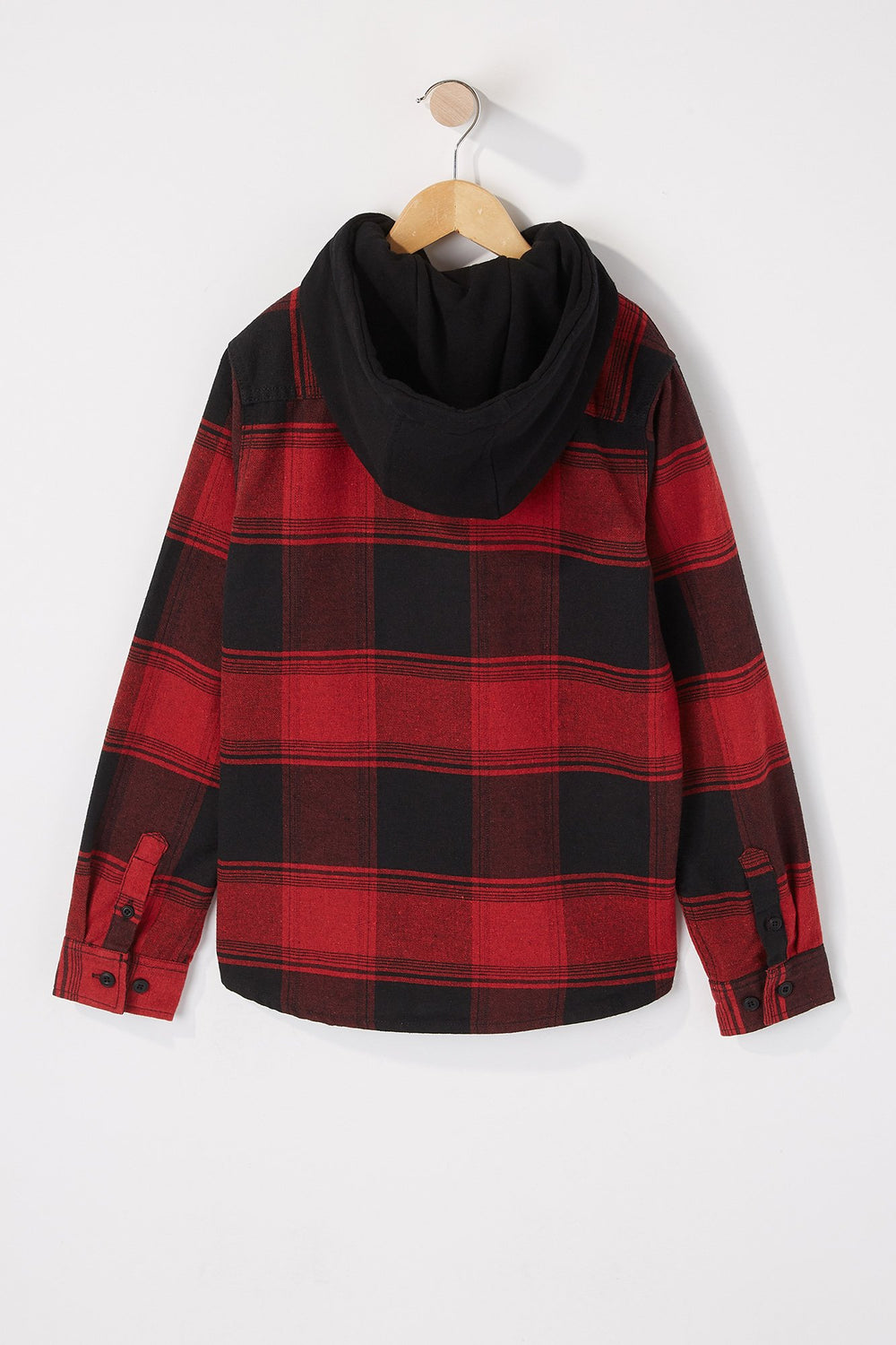 West49 Boys Hooded Flannel Plaid Button-Up Shirt Red