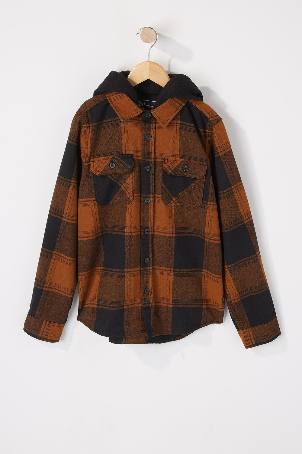 West49 Boys Hooded Flannel Plaid Button-Up Shirt Mustard