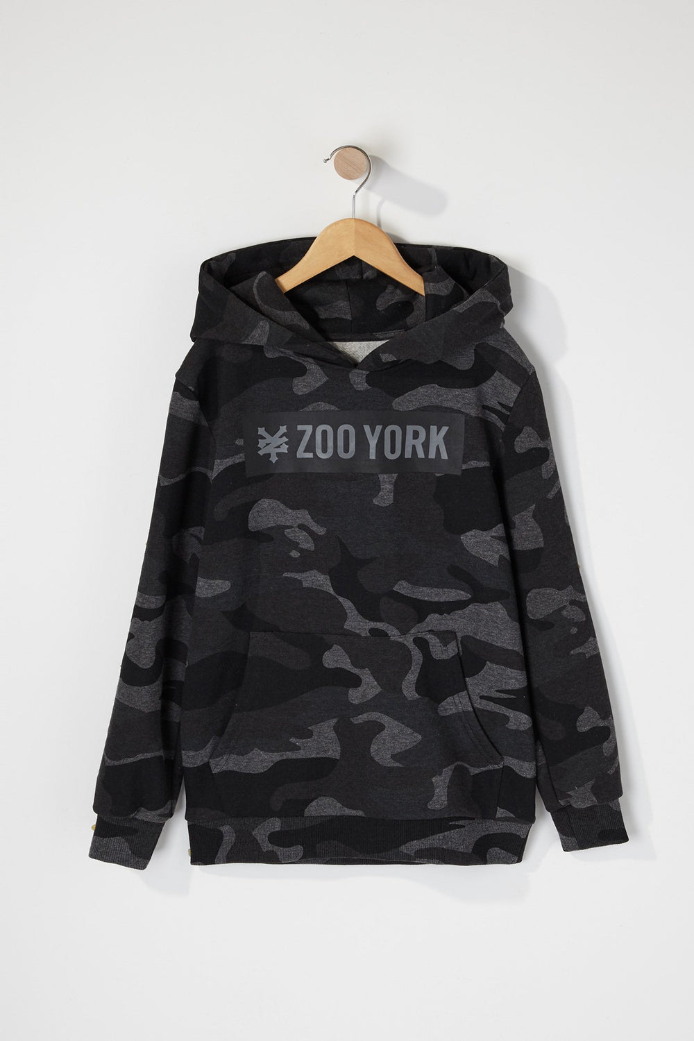 Zoo York Boys Camo Box Logo Hoodie Black with White