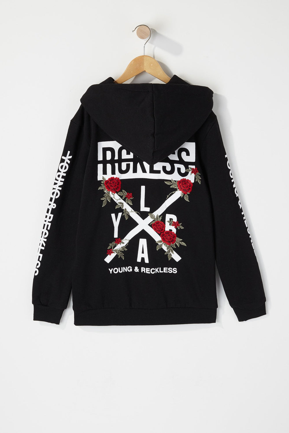 Young & Reckless Boys Embroidered Rose Logo Hoodie Black