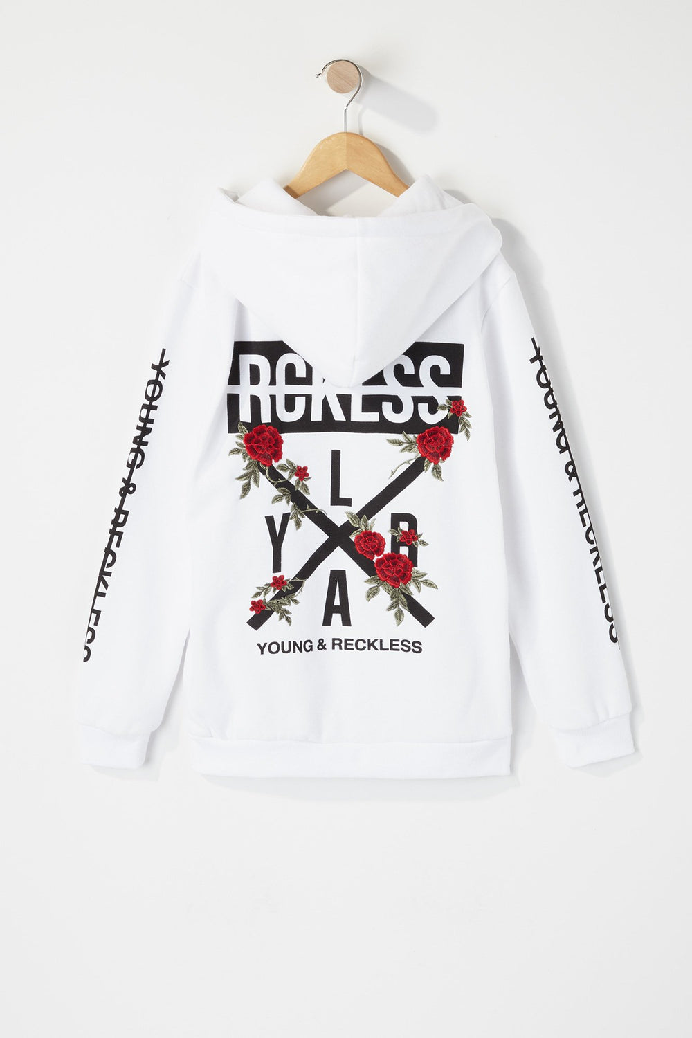 Young & Reckless Boys Embroidered Rose Logo Hoodie White