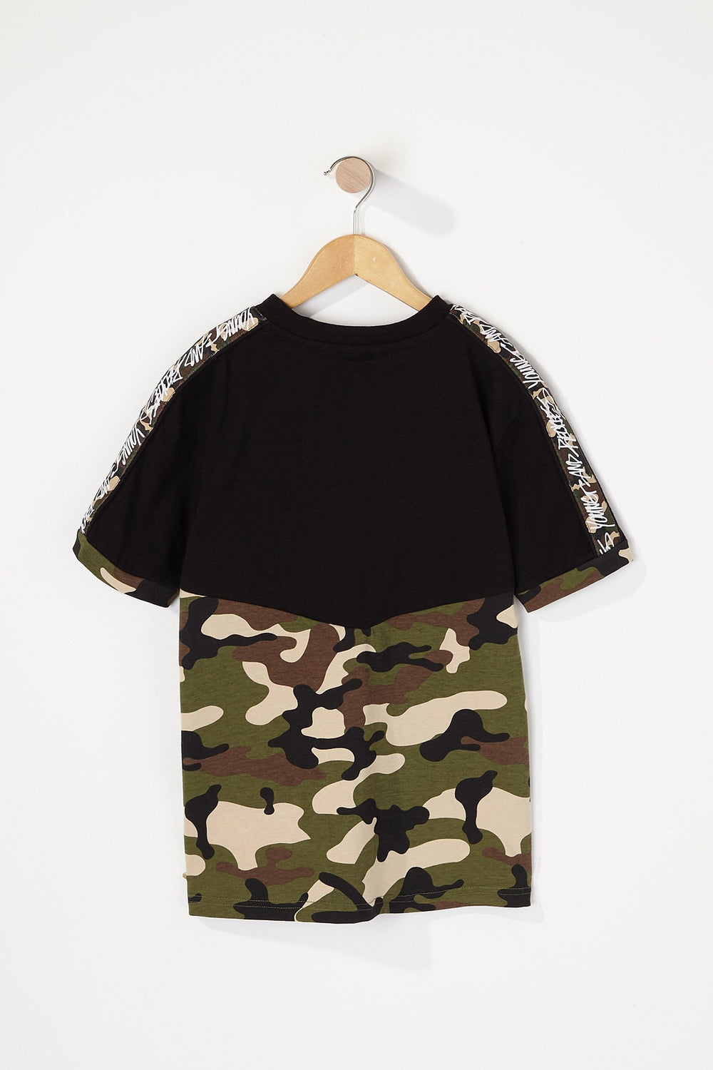 Young & Reckless Boys Camo Sleeve Tape T-Shirt Black