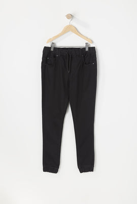 Youth Black Denim Jogger