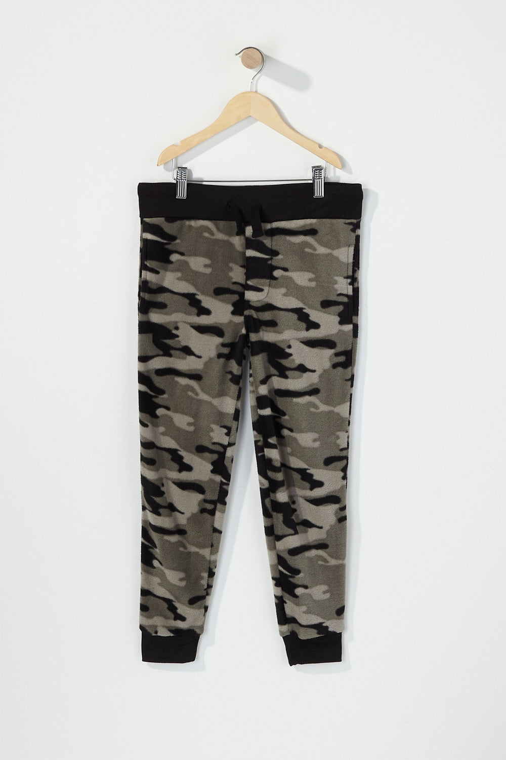 West49 Boys Fleece Camo Print Lounge Pants Black with White
