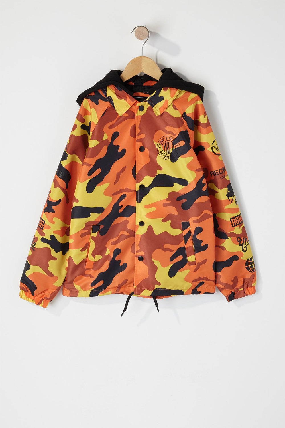 Young & Reckless Boys Camo Hooded Jacket Orange