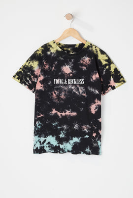 T-Shirt Tie-Dye Foncé Imprimé Tournesol Young & Reckless Junior