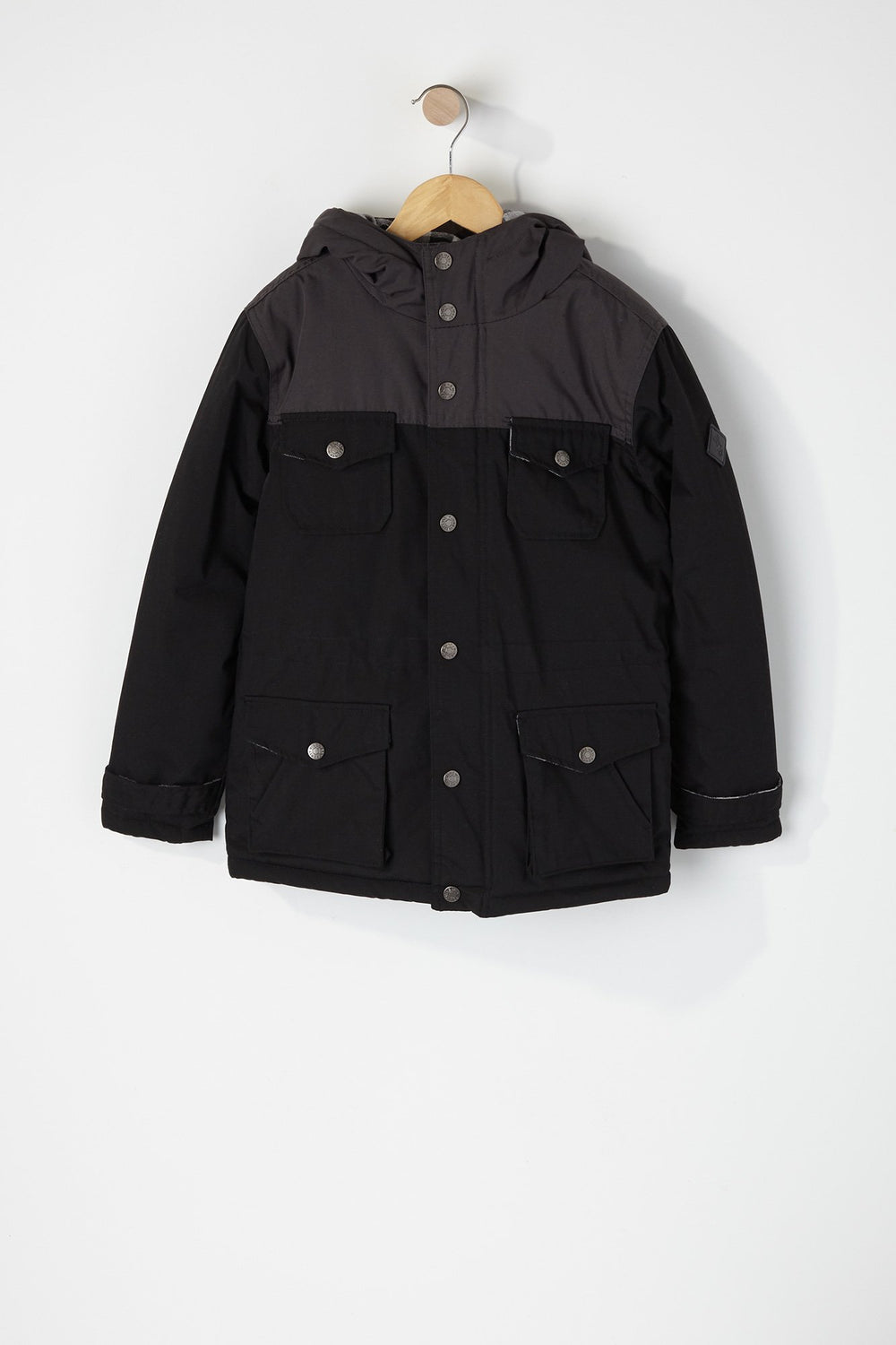 West49 Boys Colour Block 4-Pocket Parka Black