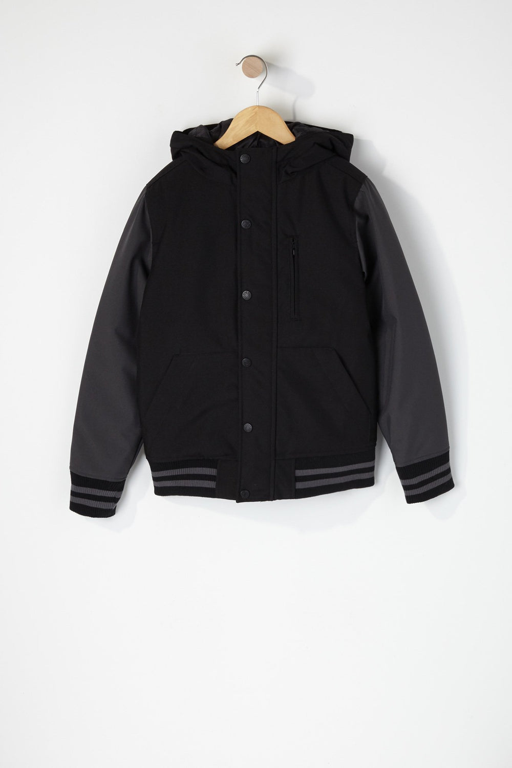 West49 Boys Colour Block Varsity Jacket Black