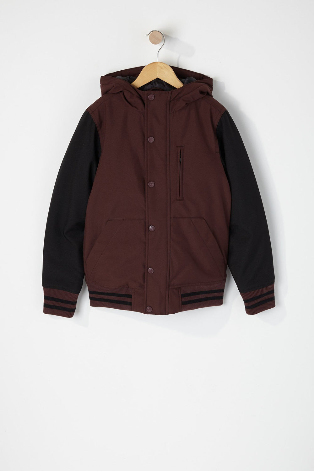 West49 Boys Colour Block Varsity Jacket Burgundy