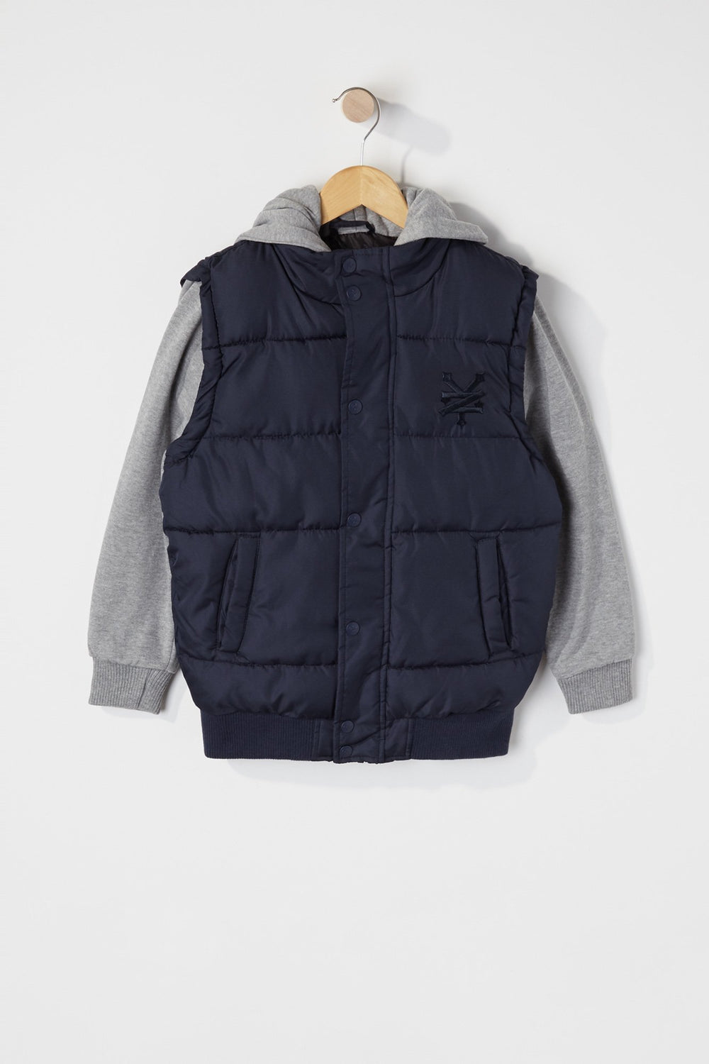Zoo York Boys Hooded Puffer Vest Navy