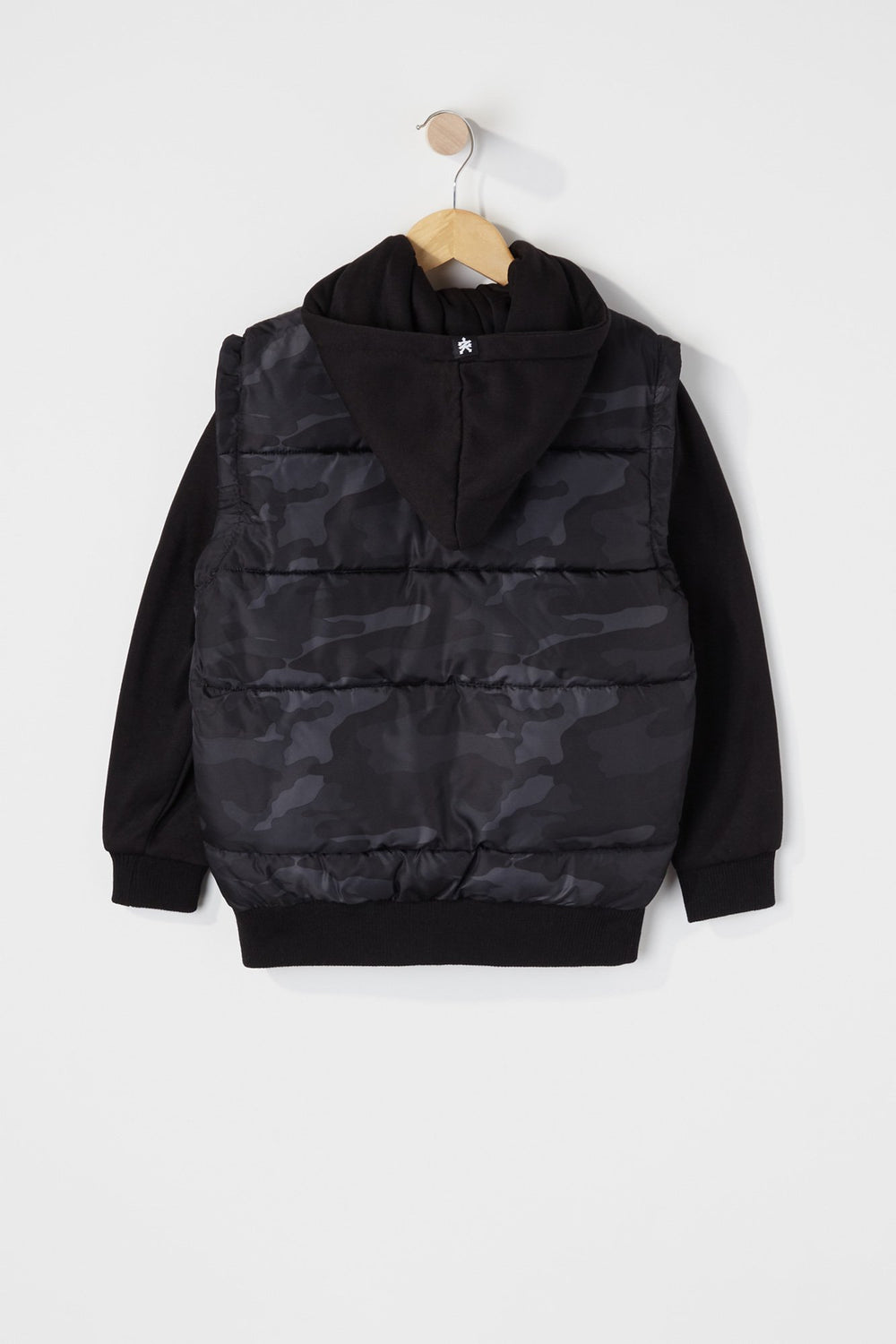 Zoo York Boys Hooded Puffer Vest Black with White