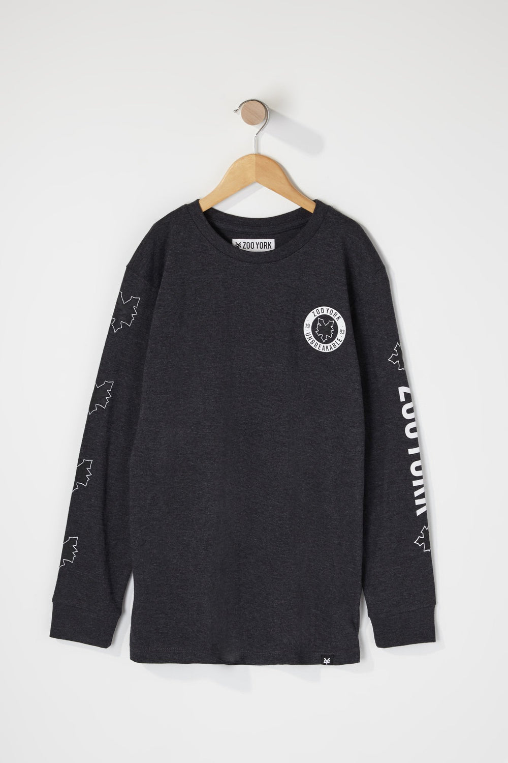 Zoo York Boys Classic Logo Long Sleeve Shirt Charcoal
