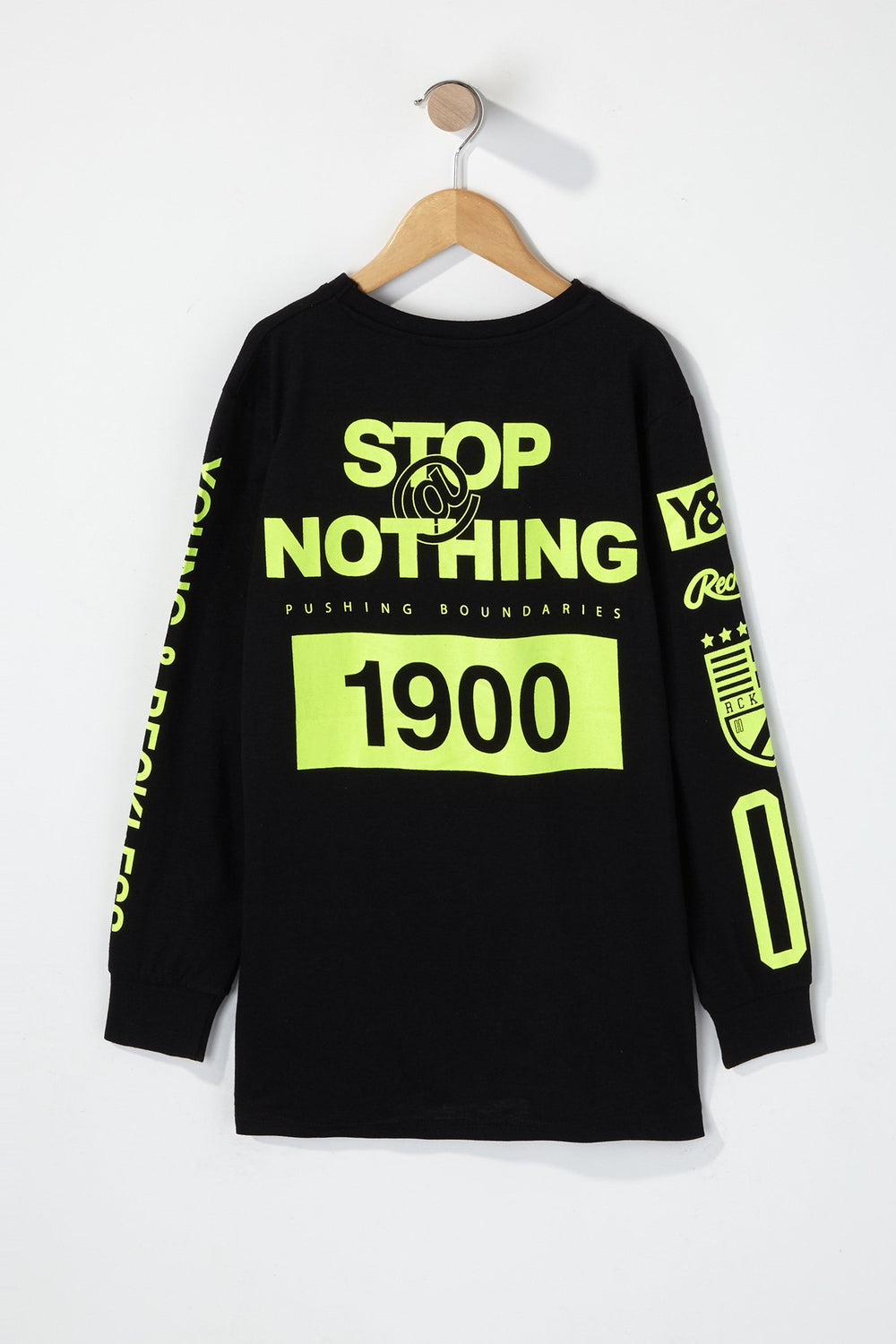 Young & Reckless Boys Rule Breakers Neon Long Sleeve Shirt Black