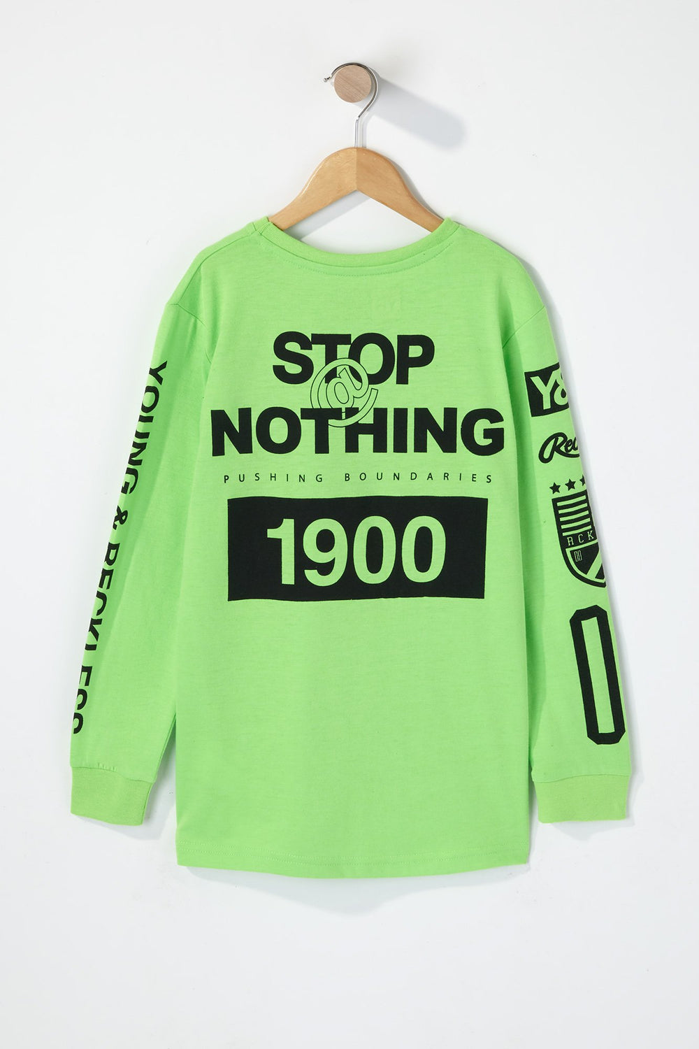 Young & Reckless Boys Rule Breakers Neon Long Sleeve Shirt Neon Green